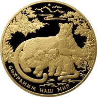 reverse of 10000 Roubles - Caucasian Leopard (2011) coin from Russia. Inscription: СОХРАНИМ НАШ МИР