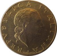 obverse of 200 Lire - Military Aviation (1993) coin with KM# 155 from Italy. Inscription: REPVBBLICA ITALIANA