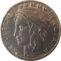 obverse of 100 Lire (1993 - 2001) coin with KM# 159 from Italy. Inscription: REPVBBLICA ITALIANA L.CRETARA
