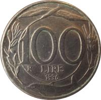 reverse of 100 Lire (1993 - 2001) coin with KM# 159 from Italy. Inscription: 100 LIRE R 1994