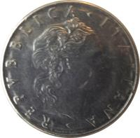 obverse of 50 Lire - Larger (1954 - 1989) coin with KM# 95.1 from Italy. Inscription: REPVBLICA · ITALIANA · ROMAGNOLI GIAMPAOLI.INC