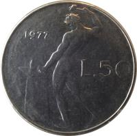 reverse of 50 Lire - Larger (1954 - 1989) coin with KM# 95.1 from Italy. Inscription: 1973 R L.50