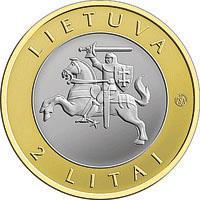 obverse of 2 Litai - Lithuanian resorts - Birštonas - Colourized (2012) coin with KM# 183.2 from Lithuania. Inscription: LIETUVA 2 LITAI