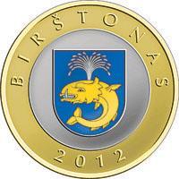 reverse of 2 Litai - Lithuanian resorts - Birštonas - Colourized (2012) coin with KM# 183.2 from Lithuania. Inscription: BIRŠTONAS 2012