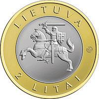 obverse of 2 Litai - Lithuanian resorts - Druskininkai - Colourized (2012) coin with KM# 184.2 from Lithuania. Inscription: LIETUVA 2 LITAI