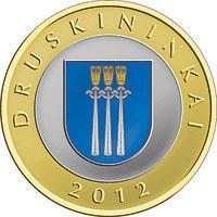 reverse of 2 Litai - Lithuanian resorts - Druskininkai - Colourized (2012) coin with KM# 184.2 from Lithuania. Inscription: DRUSKININKAI 2012