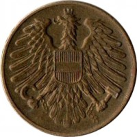 obverse of 20 Groschen (1950 - 1954) coin with KM# 2877 from Austria.