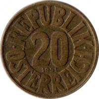 reverse of 20 Groschen (1950 - 1954) coin with KM# 2877 from Austria. Inscription: · REPUBLIK · 20 1951 ÖSTEREICH