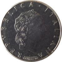 obverse of 50 Lire - Smaller (1990 - 1995) coin with KM# 95.2 from Italy. Inscription: REPUBLICA · ITALIANA ROMAGNOLI GIAMPAOLI INC.