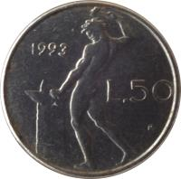 reverse of 50 Lire - Smaller (1990 - 1995) coin with KM# 95.2 from Italy. Inscription: 1992 R L.50