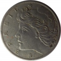 obverse of 1 Cruzeiro (1974 - 1978) coin with KM# 581a from Brazil. Inscription: * BRASIL *