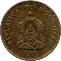 obverse of 5 Centavos - Non magnetic (1995 - 2007) coin with KM# 72.4 from Honduras. Inscription: REPUBLICA DE HONDURAS 2002 REPUBLICA DE HONDURAS. LIBRE, SOBERANA E INDEPENDIENTE 15 DE SEPTIEMBRE 1821