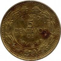reverse of 5 Centavos - Non magnetic (1995 - 2007) coin with KM# 72.4 from Honduras. Inscription: CINCO 5 CENTAVOS DE LEMPIRA