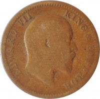 obverse of 1/4 Anna - Edward VII (1906 - 1910) coin with KM# 502 from India. Inscription: EDWARD VII KING & EMPEROR