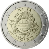 obverse of 2 Euro - 10 Years of Euro Cash (2012) coin with KM# 139 from Malta. Inscription: MALTA A.H. 2002 2012