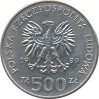 obverse of 500 Złotych - Defensive War of Poland (1989) coin with Y# 185 from Poland. Inscription: POLSKA RZECZPOSPOLITA LUDOWA 1989 Zł 500 Zł