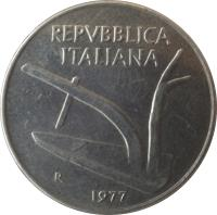 obverse of 10 Lire (1951 - 2001) coin with KM# 93 from Italy. Inscription: REPVBBLICA ITALIANA R 1974