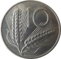 reverse of 10 Lire (1951 - 2001) coin with KM# 93 from Italy. Inscription: 10 ROMAGNOLI