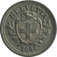 obverse of 1 Rappen (1942 - 1946) coin with KM# 3a from Switzerland. Inscription: HELVETIA 1944