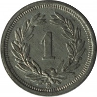 reverse of 1 Rappen (1942 - 1946) coin with KM# 3a from Switzerland. Inscription: 1 B