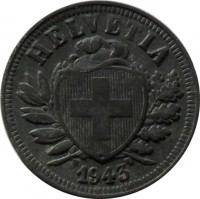 obverse of 2 Rappen (1942 - 1946) coin with KM# 4.2b from Switzerland. Inscription: HELVETIA 1942