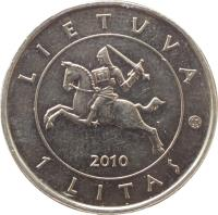 obverse of 1 Litas - 600th Anniversary of the Battle of Grunwald (2010) coin with KM# 172 from Lithuania. Inscription: Lietuva 1 Litas 2010