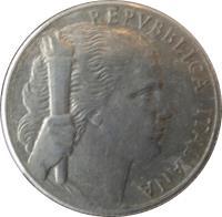 obverse of 5 Lire (1946 - 1950) coin with KM# 89 from Italy. Inscription: REPVBBLICA ITALIANA G.ROMAGNOLI-P.GIAMPAOLI INC