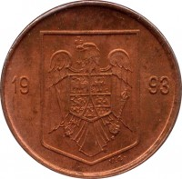obverse of 1 Leu (1993 - 2006) coin with KM# 115 from Romania. Inscription: 19 93 V.G