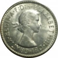 obverse of 3 Pence - Elizabeth II - With F:D:; 1'st Portrait (1955 - 1964) coin with KM# 57 from Australia. Inscription: +ELIZABETH · II · DEI · GRATIA · REGINA · F:D: