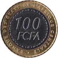 reverse of 100 Francs (2006) coin with KM# 15 from Central Africa (BEAC). Inscription: BANQUE DES ÉTATS DE L'AFRIQUE CENTRALE 100 FCFA