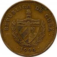 obverse of 1 Peso (1991 - 2014) coin with KM# 347 from Cuba. Inscription: · REPUBLICA DE CUBA · · 1994 ·