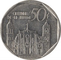 reverse of 50 Centavos (1994 - 2007) coin with KM# 578 from Cuba. Inscription: CATEDRAL DE LA HABANA 50¢