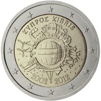 obverse of 2 Euro - 10 Years of Euro Cash (2012) coin with KM# 97 from Cyprus. Inscription: ΚΥΠΡΟΣ KIBRIS A.H. € 2002 2012