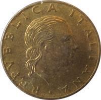 obverse of 200 Lire - Taranto Naval Yards (1989) coin with KM# 130 from Italy. Inscription: REPUBBLICA ITALIANA