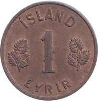 reverse of 1 Eyrir (1946 - 1966) coin with KM# 8 from Iceland. Inscription: ÍSLAND 1 EYRIR