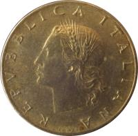 obverse of 20 Lire (1957 - 2001) coin with KM# 97 from Italy. Inscription: REPVBBLICA ITALIANA GIAMPAOLI