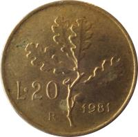 reverse of 20 Lire (1957 - 2001) coin with KM# 97 from Italy. Inscription: L.20 R 1958
