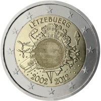obverse of 2 Euro - Henri I - 10 Years of Euro Cash (2012) coin with KM# 119 from Luxembourg. Inscription: LËTZEBUERG A.H. € 2002 2012