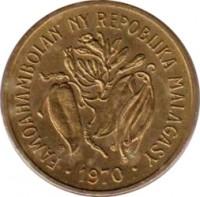 obverse of 10 Francs - FAO (1970 - 1989) coin with KM# 11 from Madagascar. Inscription: FAMOAHAMBOLAN' NY REPOBLIKA MALAGASY 1989