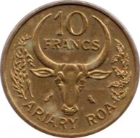 reverse of 10 Francs - FAO (1970 - 1989) coin with KM# 11 from Madagascar. Inscription: 10 FRANCS ARIARY ROA