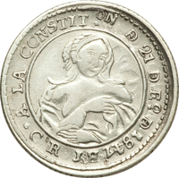 obverse of 1 Real (1847) coin with KM# 65 from Costa Rica. Inscription: A LA COSTIT.ON DE 21 DE Eo. D 1847 JB Co.R