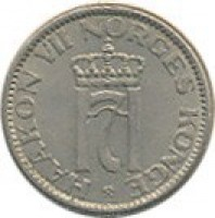 obverse of 50 Øre - Haakon VII (1953 - 1957) coin with KM# 402 from Norway. Inscription: HAAKON VII NORGES KONGE H7