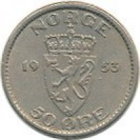 reverse of 50 Øre - Haakon VII (1953 - 1957) coin with KM# 402 from Norway. Inscription: NORGE 19 53 50 ØRE