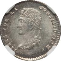obverse of 1 Sol (1853 - 1859) coin with KM# 119 from Bolivia. Inscription: LIBRE POR LA CONSTITUCION ·
