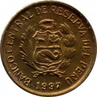 obverse of 1 Céntimo (1991 - 2006) coin with KM# 303 from Peru. Inscription: BANCO CENTRAL DE RESERVA DEL PERÚ 2004