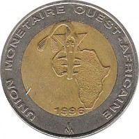 obverse of 250 Francs (1992 - 1996) coin with KM# 13 from Western Africa (BCEAO). Inscription: UNION MONETAIRE OUEST-AFRICAINE 1992