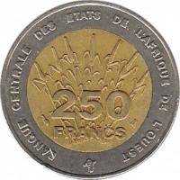 reverse of 250 Francs (1992 - 1996) coin with KM# 13 from Western Africa (BCEAO). Inscription: BANQUE CENTRALE DES ETATS DE L'AFRIQUE DE L'OUEST 250 FRANCS