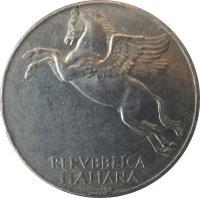 obverse of 10 Lire (1946 - 1950) coin with KM# 90 from Italy. Inscription: REPVBBLICA ITALIANA