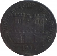 obverse of 5 Pfennig - Hersburg (Statd, Bayern) (1917) coin with F# 210.1 from Germany. Inscription: STADTGEMEINDE HERSBRUCK · 1917 ·