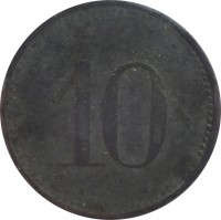 reverse of 10 Pfennig - Hersburg (Statd, Bayern) (1917) coin with F# 210.2 from Germany. Inscription: 10